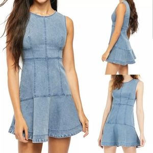 FREE PEOPLE ALEX DENIM MINI DRESS OCEAN SPRAY